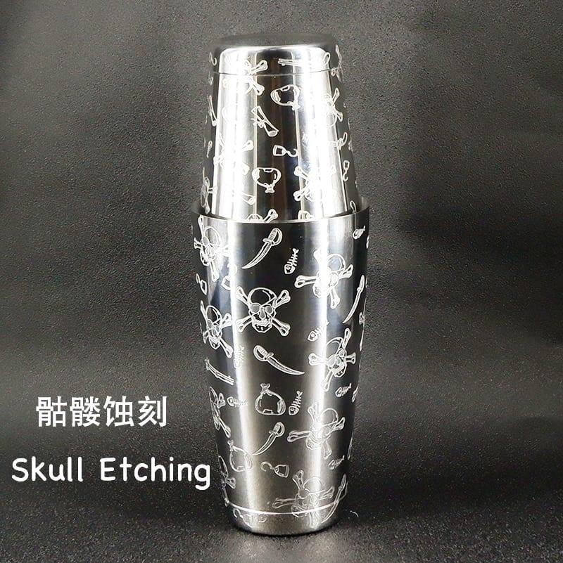 Skull Cocktail Shaker Bar Set:Skull Weighted Boston Shakers, Skull Cocktail Strainer,Skull Jigger,Skull Spoon,