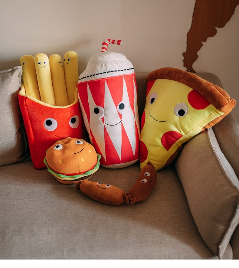 French Fry and Pizza Stuffed Throw Pillows