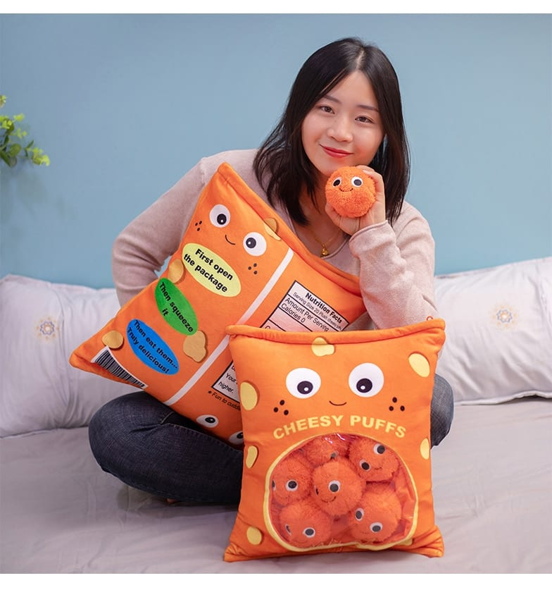 Cheesy Puffs Stuffed Throw Pillow